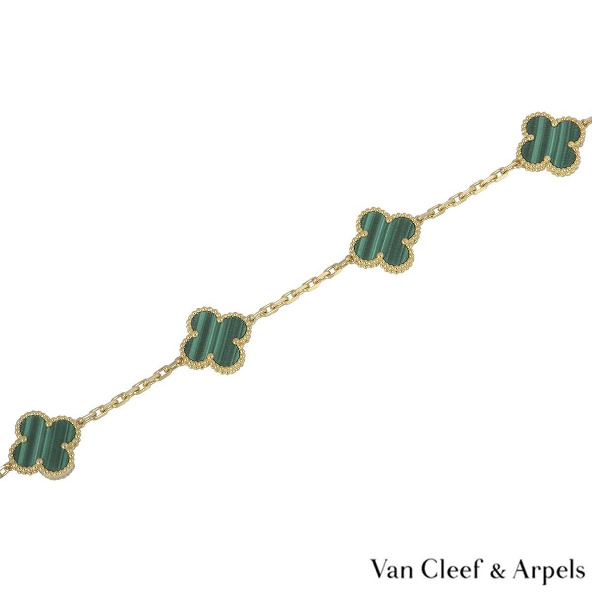 Van Cleef & Arpels Malachite Vintage Alhambra Bracelet VCARL80900